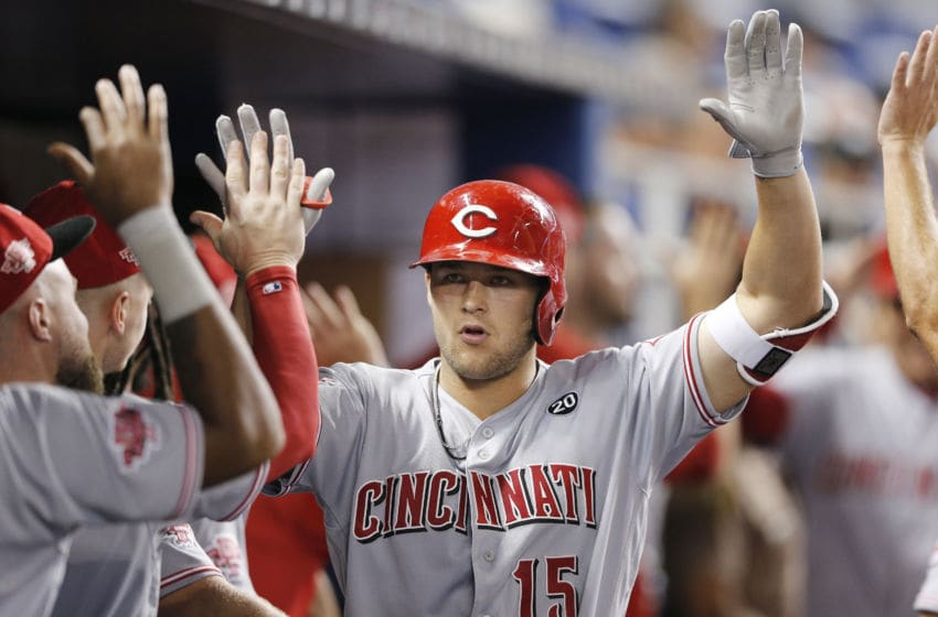 MIAMI, FLORIDA - AUGUST 27: Nick Senzel #15 of the Cincinnati Reds (Photo by Michael Reaves/Getty Images)