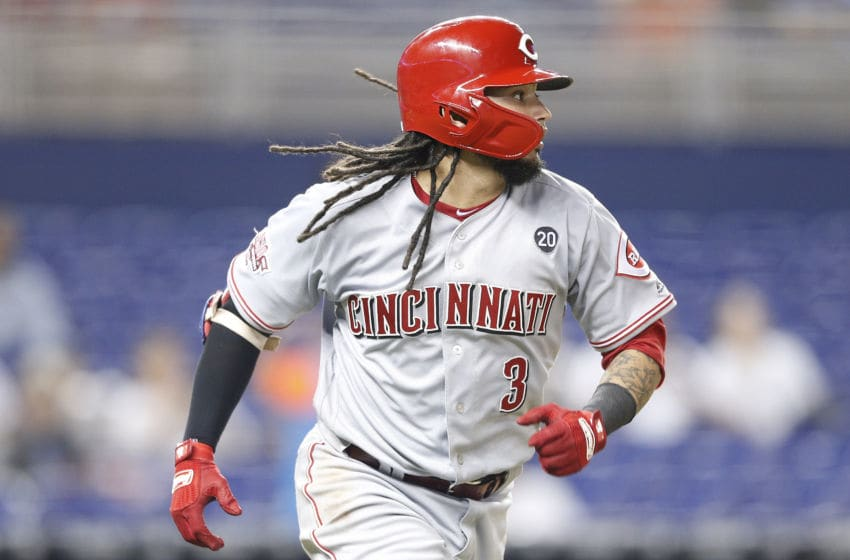 MIAMI, FLORIDA - AUGUST 27: Freddy Galvis #3 of the Cincinnati Reds (Photo by Michael Reaves/Getty Images)