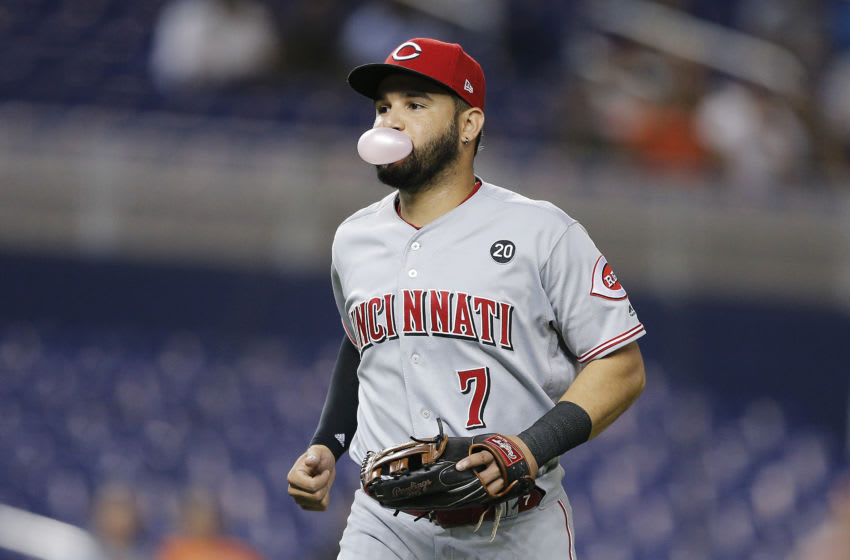 MIAMI, FLORIDA - AUGUST 27: Eugenio Suarez #7 of the Cincinnati Reds (Photo by Michael Reaves/Getty Images)