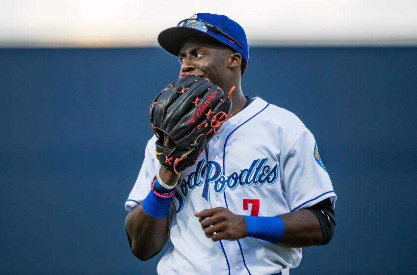 AMARILLO, TEXAS - AUGUST 02: Outfielder Taylor Trammell #7 (Photo by John E. Moore III/Getty Images)