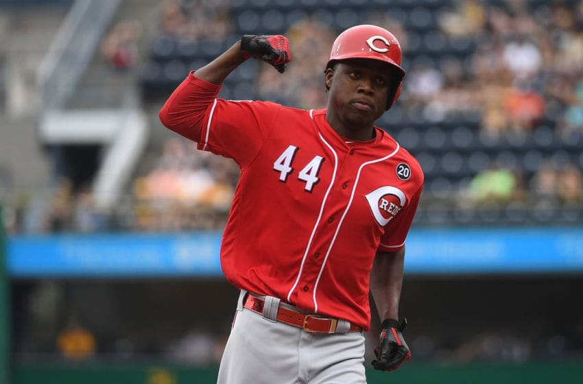 PITTSBURGH, PA - SEPTEMBER 29: Aristides Aquino #44 of the Cincinnati Reds (Photo by Justin Berl/Getty Images)