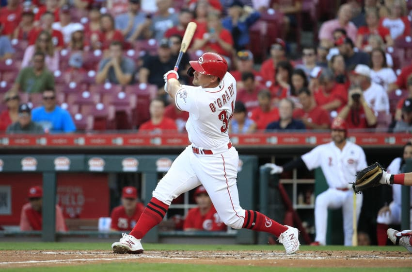 CINCINNATI, OHIO - SEPTEMBER 04: Brian O'Grady #34 of the Cincinnati Reds hits a triple in the second inning against the Philadelphia Phillies at Great American Ball Park on September 04, 2019 in Cincinnati, Ohio. (Photo by Andy Lyons/Getty Images)