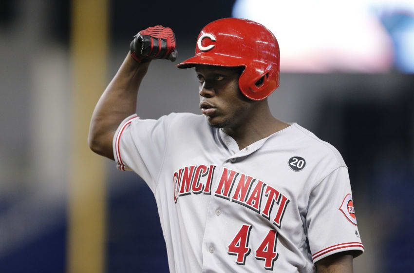 MIAMI, FLORIDA - AUGUST 29: Aristides Aquino #44 of the Cincinnati Reds (Photo by Michael Reaves/Getty Images)