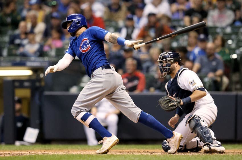 MILWAUKEE, WISCONSIN - SEPTEMBER 05: Nicholas Castellanos #6 of the Chicago Cubs hits a single in the fifth inning against the Milwaukee Brewers at Miller Park on September 05, 2019 in Milwaukee, Wisconsin. (Photo by Dylan Buell/Getty Images)