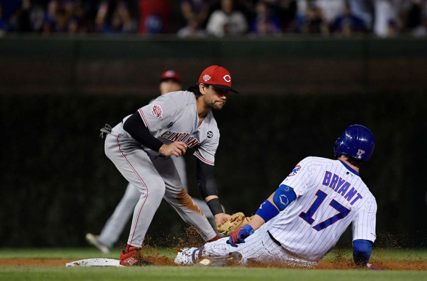 CHICAGO, ILLINOIS - SEPTEMBER 18: Alex Blandino #2 of the Cincinnati Reds (Photo by Quinn Harris/Getty Images)