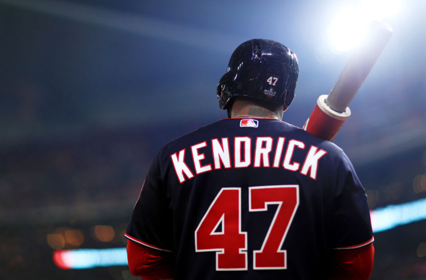 HOUSTON, TEXAS - OCTOBER 22: Howie Kendrick #47 of the Washington Nationals waits on deck against the Houston Astros during the fourth inning in Game One of the 2019 World Series at Minute Maid Park on October 22, 2019 in Houston, Texas. (Photo by Mike Ehrmann/Getty Images)