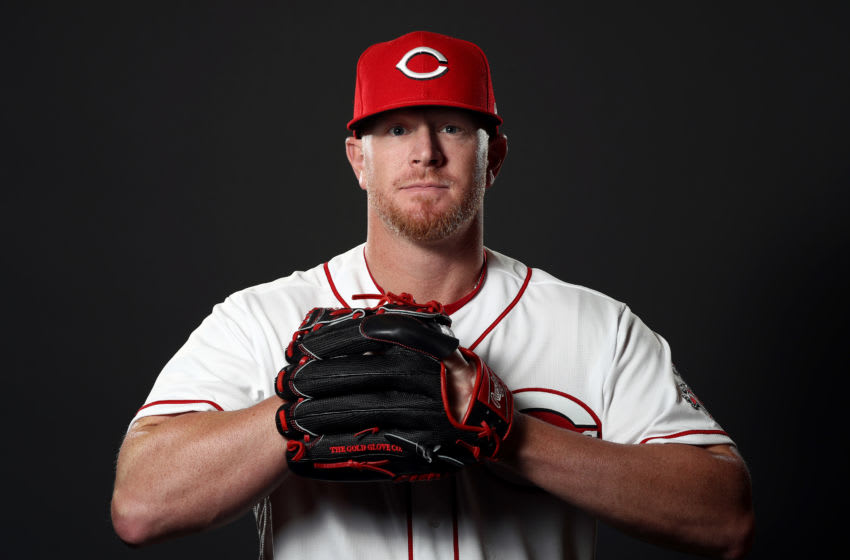 GOODYEAR, ARIZONA - FEBRUARY 19: David Carpenter #77 poses during Cincinnati Reds (Photo by Jamie Squire/Getty Images)