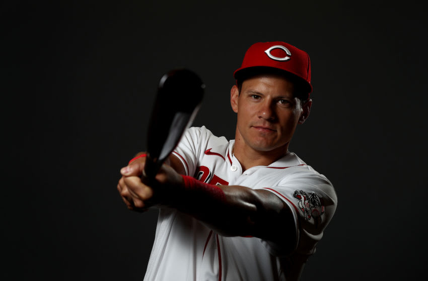 GOODYEAR, ARIZONA - FEBRUARY 19: Derek Dietrich #35 poses during Cincinnati Reds (Photo by Jamie Squire/Getty Images)
