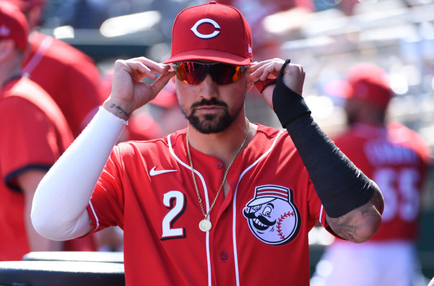 GOODYEAR, ARIZONA - FEBRUARY 24: Nick Castellanos #2 of the Cincinnati Reds prepares for a spring training game (Photo by Norm Hall/Getty Images)
