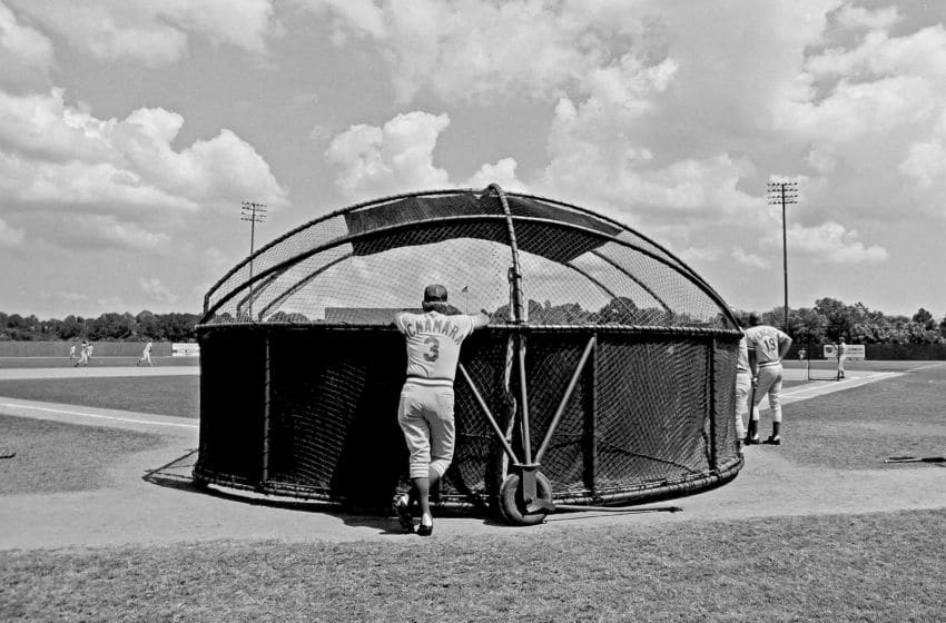 VERO BEACH, FL - 1981: Manager John McNamara #3 of the Cincinnati Reds leans on the batting cage before a game. (Photo by Jayne Kamin-Oncea/Getty Images)