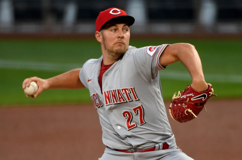 PITTSBURGH, PA - SEPTEMBER 04: Trevor Bauer #27 of the Cincinnati Reds delivers a pitch in the first inning. (Photo by Justin Berl/Getty Images)