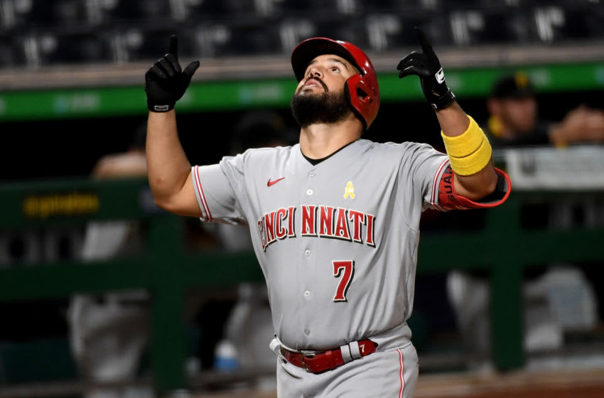PITTSBURGH, PA - SEPTEMBER 05: Eugenio Suarez #7 of the Cincinnati Reds celebrates his third home run of the game. (Photo by Justin Berl/Getty Images)