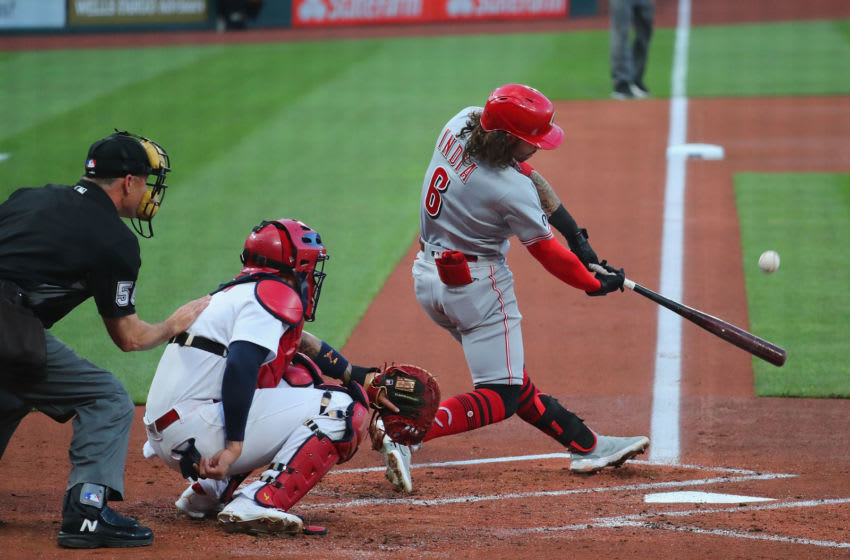 ST LOUIS, MO - JUNE 04: Jonathan India #6 of the Cincinnati Reds hits a two-run home run. (Photo by Dilip Vishwanat/Getty Images)