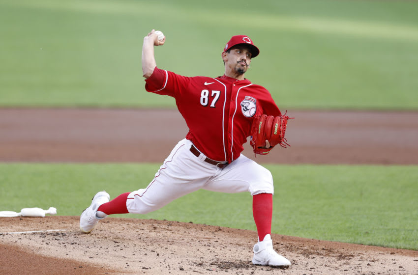 CINCINNATI, OH - JULY 22: Jose De Leon #87 of the Cincinnati Reds pitches during an exhibition game against the Detroit Tigers at Great American Ball Park on July 22, 2020 in Cincinnati, Ohio. The Reds defeated the Tigers 2-1. (Photo by Joe Robbins/Getty Images)