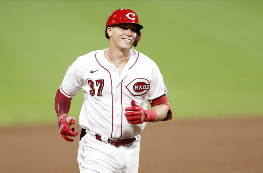 CINCINNATI, OH - JULY 27: Tyler Stephenson #37 of the Cincinnati Reds rounds the bases after hitting a solo home run. (Photo by Joe Robbins/Getty Images)