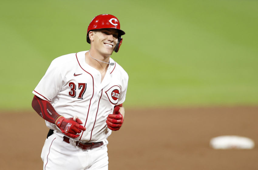 CINCINNATI, OH - JULY 27: Tyler Stephenson #37 of the Cincinnati Reds rounds the bases after hitting a solo home run in his first Major League at bat. (Photo by Joe Robbins/Getty Images)