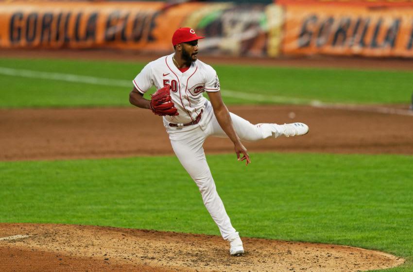 CINCINNATI, OH - AUGUST 4: Amir Garrett #50 of the Cincinnati Reds pitches (Photo by Jamie Sabau/Getty Images)