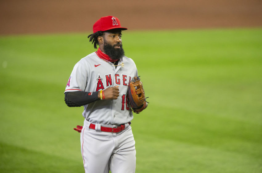 SEATTLE, WA - AUGUST 06: Brian Goodwin #18 of the Los Angeles Angels runs back to the dugout after the third inning. Goodwin was traded to the Cincinnati Reds. (Photo by Lindsey Wasson/Getty Images)
