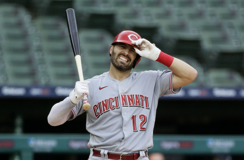 DETROIT, MI - AUGUST 2: Curt Casali #12 of the Cincinnati Reds reacts to a strike while batting. (Photo by Duane Burleson/Getty Images)
