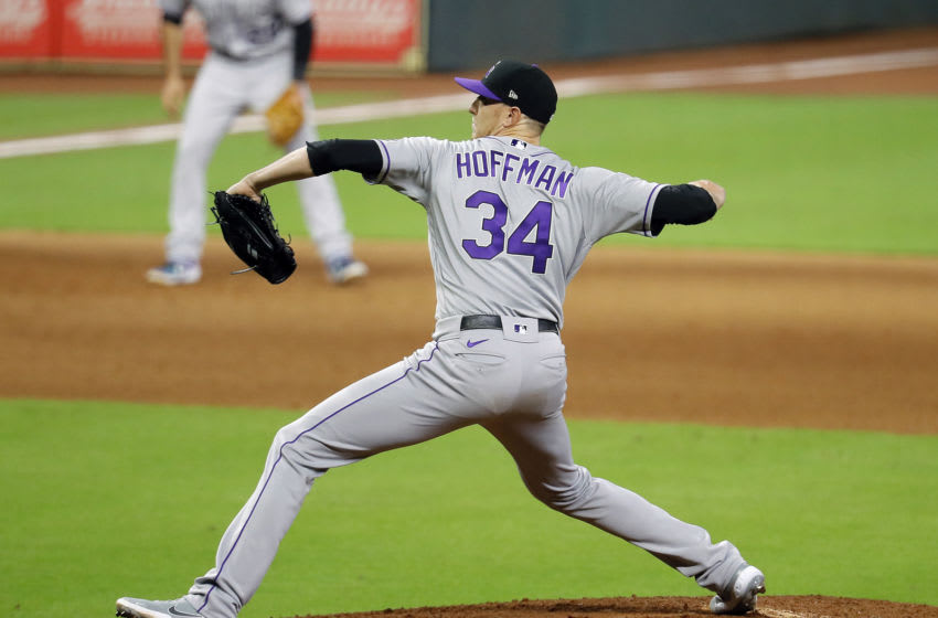 HOUSTON, TEXAS - AUGUST 17: Jeff Hoffman #34 of the Colorado Rockies pitches. (Photo by Bob Levey/Getty Images)