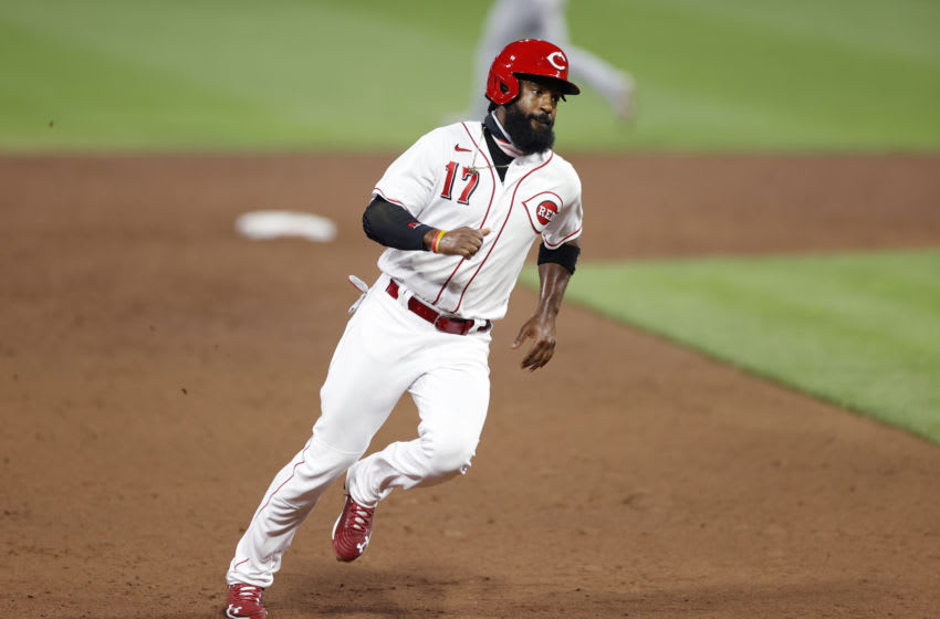 CINCINNATI, OH - SEPTEMBER 01: Brian Goodwin #17 of the Cincinnati Reds runs the bases during a game. (Photo by Joe Robbins/Getty Images)
