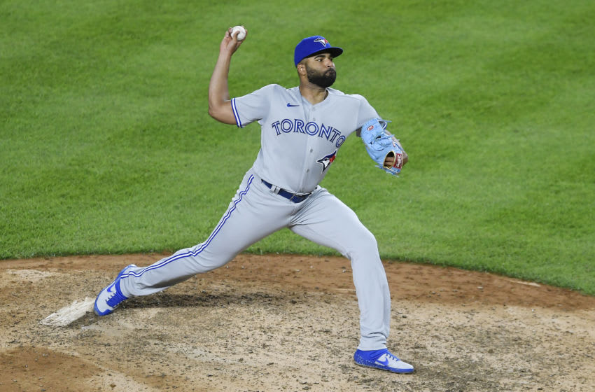 NEW YORK, NEW YORK - SEPTEMBER 16: Hector Perez #64 of the Toronto Blue Jays pitches. (Photo by Sarah Stier/Getty Images)