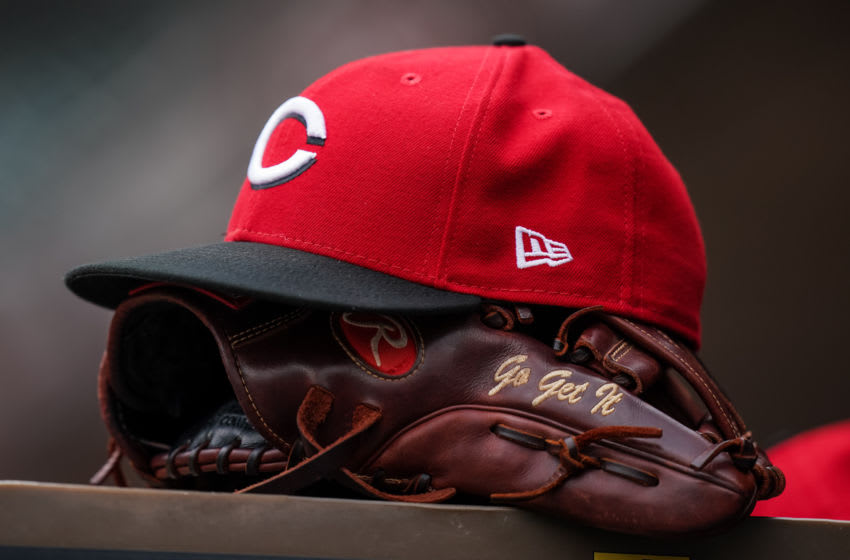MINNEAPOLIS, MN - SEPTEMBER 27: A detail view of a Cincinnati Reds red and glove against the Minnesota Twins. (Photo by Brace Hemmelgarn/Minnesota Twins/Getty Images) *** Local Caption ***