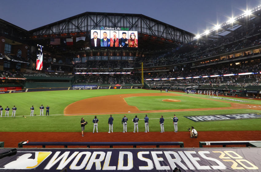 ARLINGTON, TEXAS - OCTOBER 20: A recorded national anthem performed by Pentatonix is displayed on the video board prior to Game One of the 2020 MLB World Series between the Los Angeles Dodgers and the Tampa Bay Rays at Globe Life Field on October 20, 2020 in Arlington, Texas. (Photo by Ronald Martinez/Getty Images)