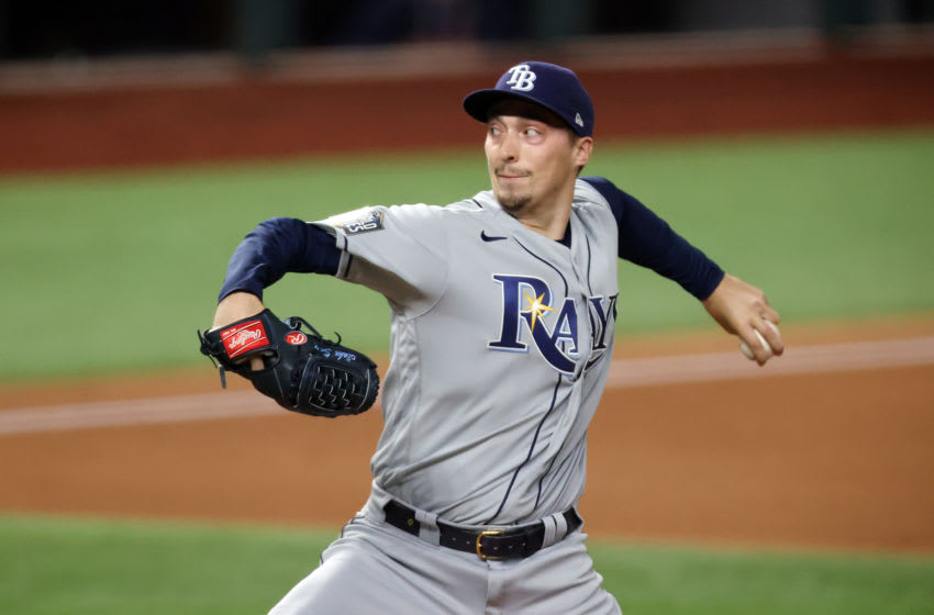 ARLINGTON, TEXAS - OCTOBER 21: Blake Snell #4 of the Tampa Bay Rays pitches against the Los Angeles Dodgers during the first inning in Game Two of the 2020 MLB World Series. (Photo by Tom Pennington/Getty Images)