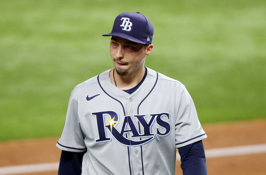 ARLINGTON, TEXAS - OCTOBER 21: Blake Snell #4 of the Tampa Bay Rays is taken out of the game. (Photo by Sean M. Haffey/Getty Images)
