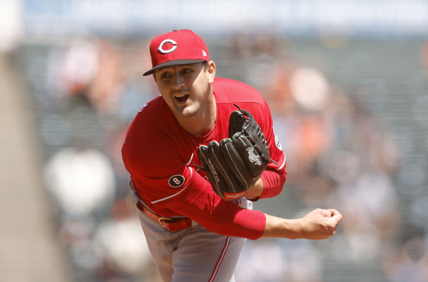 SAN FRANCISCO, CALIFORNIA - APRIL 14: Tyler Mahle #30 of the Cincinnati Reds pitches. (Photo by Ezra Shaw/Getty Images)