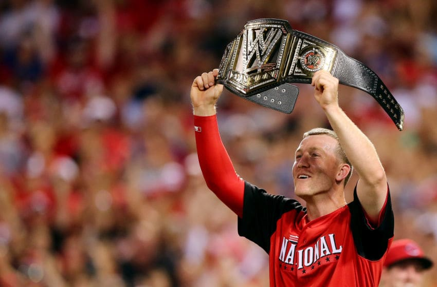 CINCINNATI, OH - JULY 13: National League All-Star Todd Frazier #21 of the Cincinnati Reds (Photo by Elsa/Getty Images)