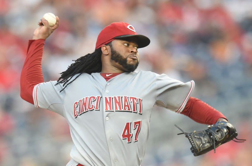 WASHINGTON, DC - JULY 07: Johnny Cueto #47 of the Cincinnati Reds pitches during a baseball game. (Photo by Mitchell Layton/Getty Images)