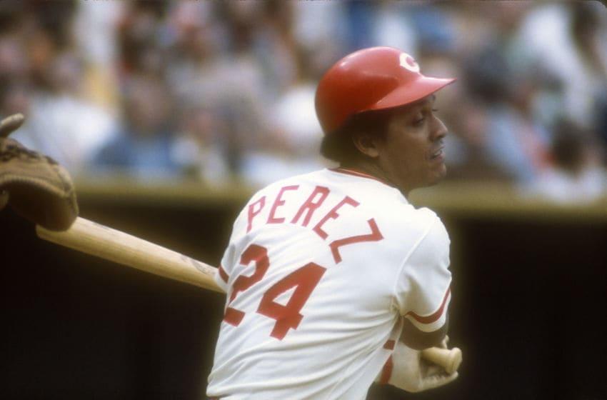CINCINNATI, OH - CIRCA 1975: First Baseman Tony Perez #24 of the Cincinnati Reds (Photo by Focus on Sport/Getty Images)