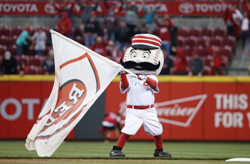 CINCINNATI, OH - APRIL 4: Cincinnati Reds mascot Mr. Redlegs celebrates after the opening day game against the Philadelphia Phillies at Great American Ball Park on April 4, 2016 in Cincinnati, Ohio. The Reds defeated the Phillies 6-2. (Photo by Joe Robbins/Getty Images)