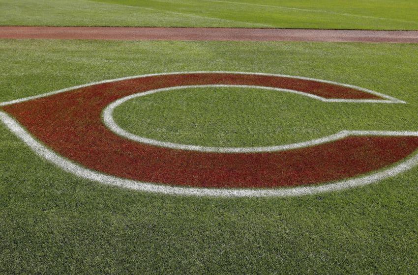 GOODYEAR, AZ - MARCH 08: A Cincinnati Reds logo (Photo by Tim Warner/Getty Images)