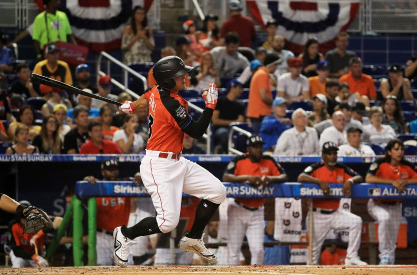 MIAMI, FL - JULY 09: Nick Senzel #13 of the Cincinnati Reds and the U.S. Team hits an RBI double in the first inning against the World Team during the SiriusXM All-Star Futures Game at Marlins Park on July 9, 2017 in Miami, Florida. (Photo by Mike Ehrmann/Getty Images)