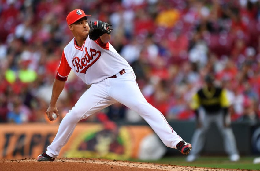 CINCINNATI, OH - AUGUST 25: Robert Stephenson #55 of the Cincinnati Reds pitches in the second inning against the Pittsburgh Pirates at Great American Ball Park on August 25, 2017 in Cincinnati, Ohio. (Photo by Jamie Sabau/Getty Images)
