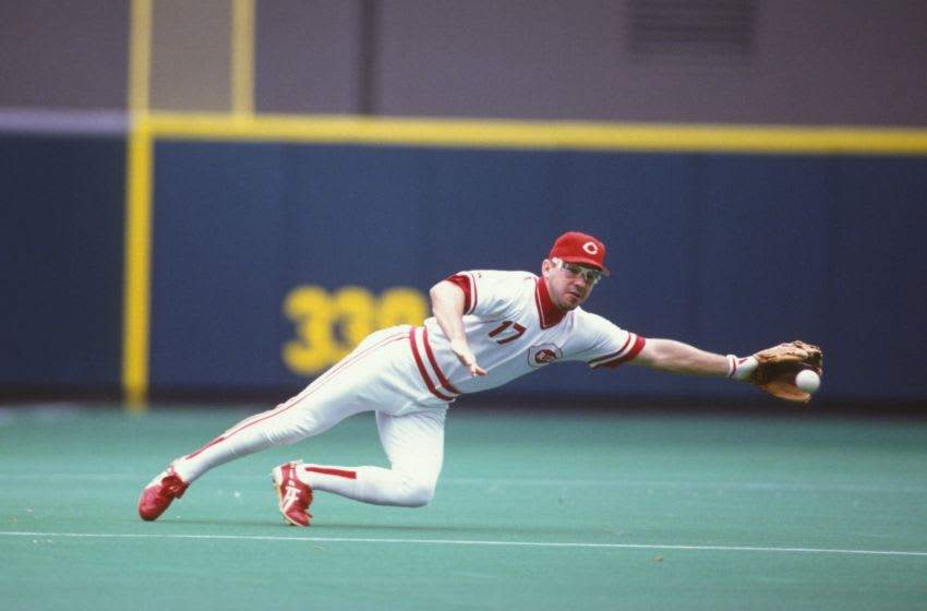 CINCINNATI - MAY 15: Chris Sabo #17 of the Cincinnati Reds (Photo by Mitchell Layton/Getty Images)