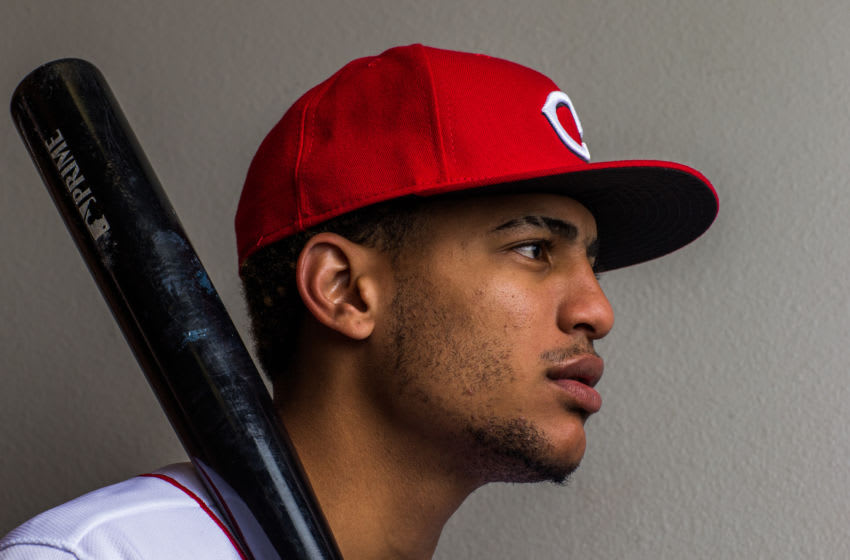 GOODYEAR, AZ - FEBRUARY 20: Jose Siri #85 of the Cincinnati Reds poses for a portrait at the Cincinnati Reds Player Development Complex on February 20, 2018 in Goodyear, Arizona. (Photo by Rob Tringali/Getty Images)