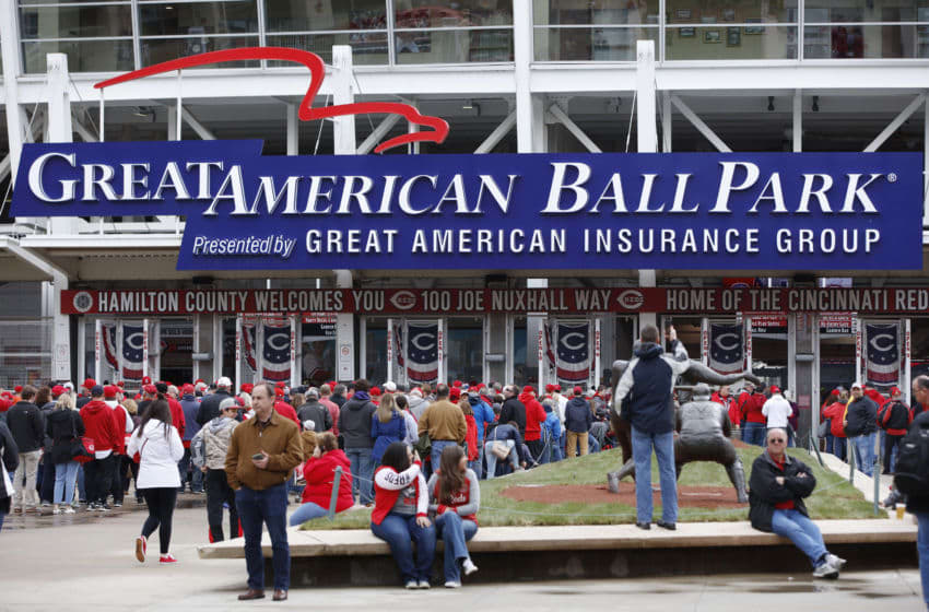 CINCINNATI, OH - MARCH 30: Fans gather outside the ball park prior to the Opening Day game between the Cincinnati Reds (Photo by Joe Robbins/Getty Images)
