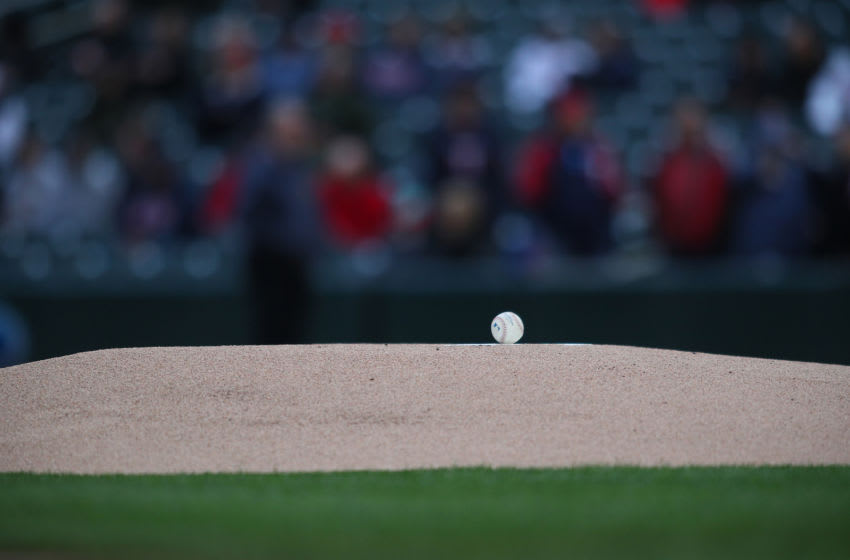 MINNEAPOLIS, MN - APRIL 27: General view of a ball on the mound before the game between the Minnesota Twins and the Cincinnati Reds (Photo by Adam Bettcher/Getty Images)