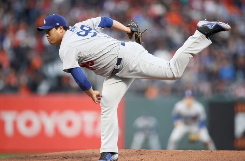 SAN FRANCISCO, CA - APRIL 27: Hyun-Jin Ryu #99 of the Los Angeles Dodgers pitches against the San Francisco Giants in the first inning at AT&T Park on April 27, 2018 in San Francisco, California. (Photo by Ezra Shaw/Getty Images)