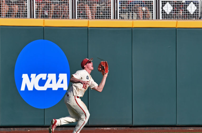 Omaha, NE - JUNE 27: Outfielder Heston Kjerstad #18 of the Arkansas Razorbacks (Photo by Peter Aiken/Getty Images)