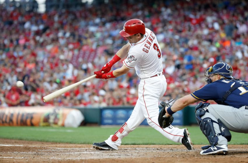 CINCINNATI, OH - JUNE 28: Scooter Gennett #3 of the Cincinnati Reds hits the ball against the Milwaukee Brewers at Great American Ball Park on June 28, 2018 in Cincinnati, Ohio. (Photo by Andy Lyons/Getty Images)