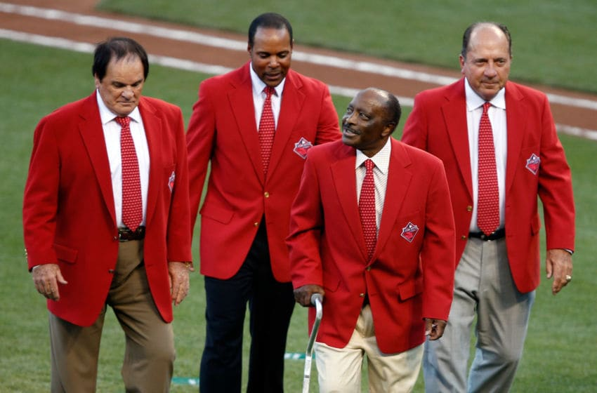CINCINNATI, OH - JULY 14: Former Cincinnati Reds player Pete Rose, Barry Larkin, Joe Morgan and Johnny Bench walk on the field prior to the 86th MLB All-Star Game at the Great American Ball Park on July 14, 2015 in Cincinnati, Ohio. (Photo by Joe Robbins/Getty Images)