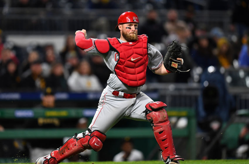PITTSBURGH, PA - APRIL 05: Tucker Barnhart #16 of the Cincinnati Reds in action during the game. (Photo by Joe Sargent/Getty Images)