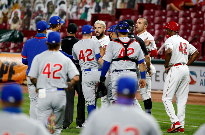 CINCINNATI, OH - AUGUST 29: Eugenio Suarez #42 of the Cincinnati Reds argues with Anthony Rizzo #42 of the Chicago Cubs causing both benches to clear during the fourth inning.(Photo by Kirk Irwin/Getty Images)