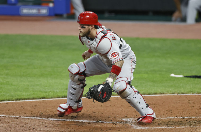CLEVELAND, OH - AUGUST 05: Tucker Barnhart #16 of the Cincinnati Reds plays against the Cleveland Indians during the fifth inning. (Photo by Ron Schwane/Getty Images)