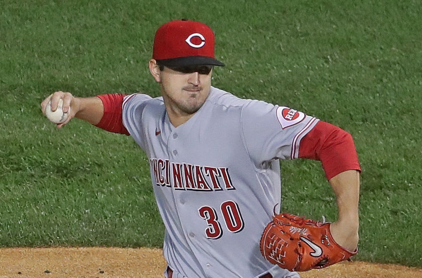 CHICAGO, ILLINOIS - SEPTEMBER 08: Starting pitcher Tyler Mahle #30 of the Cincinnati Reds delivers the ball against the Chicago Cubs. (Photo by Jonathan Daniel/Getty Images)